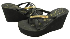 Fergie Gold Hardware Size 10.00 M Good Condition Black, Gold, Sandals