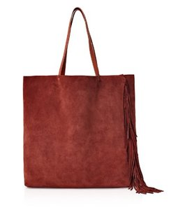 AllSaints Fringe Leather Chic Vintage Tote in Brandy | Brick Brown
