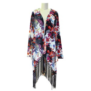 Sage Kimono Fringed Pre-owned Dress