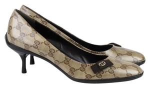 Gucci 317043 Ccrystal Gg Beige Pumps