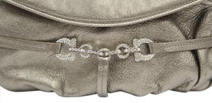 Salvatore Ferragamo Chain Link Strap Pewter Gold Rhinestone Accents Leather Baguette