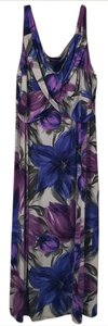Floral, silvery gray background with purple and blue flowers Maxi Dress by Tiana B.