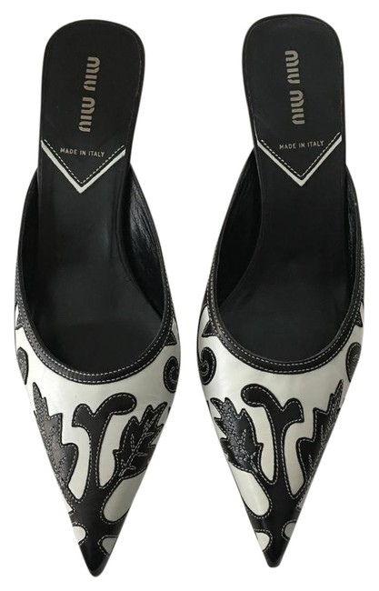 Item - Black/White Capretto Deco Mules/Slides Size US 8 Regular (M, B)