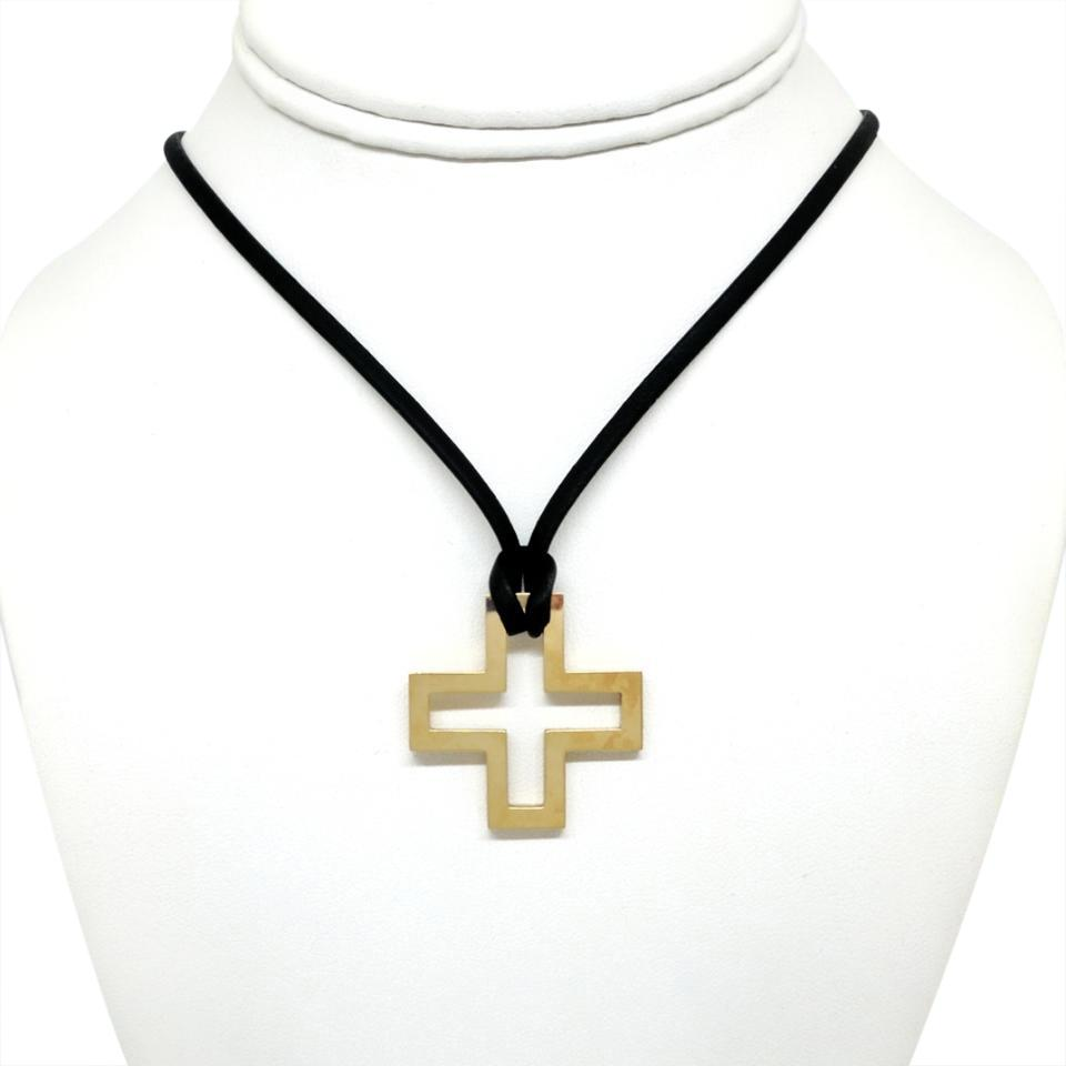 beaded goldtone black square sale cord pendant squ cross choker worn products