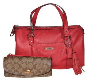 Coach Stylish Leather Tassels Spring Satchel in Coral