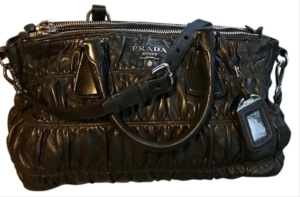 716cfba1fb35 Prada Gaufre Shopping Black with Silver Hardware Nappa Leather Tote ...