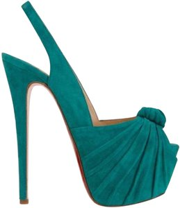 Christian Louboutin Suede Knotted Caraibes (turquoise) Platforms