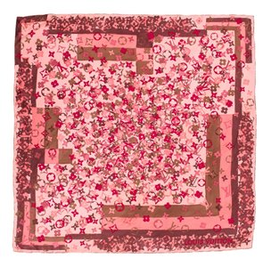 Louis Vuitton Pink, red multicolor silk Louis Vuitton floral LV print Arty scarf