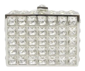 Judith Leiber Crystal Silver Meatal Frame Evening Clutch