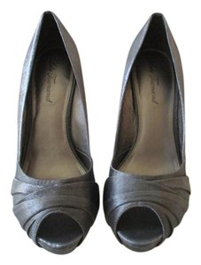 Lulu Townsend Pewter Metallic Peep Toe Pumps