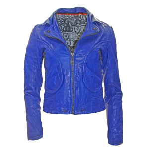 DOMA Leather Biker Blue Pre-owned Motorcycle Jacket