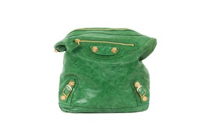 Balenciaga Leather Gold Tote in Kelly Green