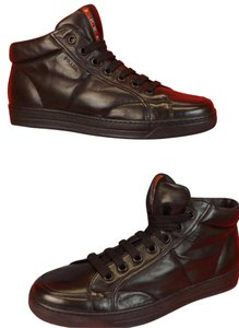 Prada Black Mens Soft Flexible Leather Lace Up Hi Top Sneakers 11 12 Shoes