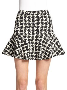 Parker Cotton-blends New With Tags Houndstooth Mini Mini Skirt BLACK AND IVORY