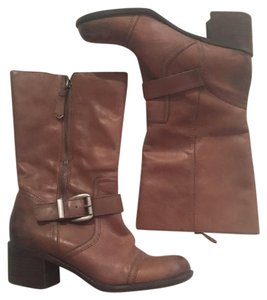Franco Sarto Moto Heeled Brown Boots