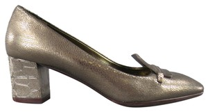 Lanvin Metallic Leather Chunky Metal Silver Pumps