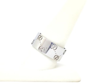 Gucci Gucci Icon 18K White Gold Logo Band Ring