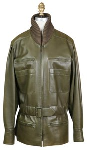 Chanel Olive Leather Knit olive green Leather Jacket