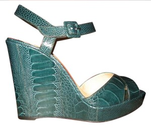 Christian Louboutin Ostrich St Wedge Petrol (Green) Platforms