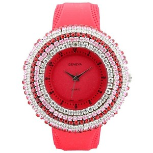 Geneva Rhinestone Face Watch w/ Stripe Design