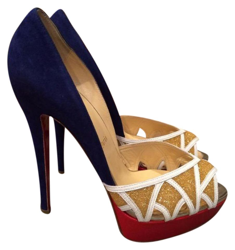 c5962f073c02 Christian Louboutin Royal Blue Red Gold White Ekaia 140 Suede Glitter Leather  Pumps Heels Platforms