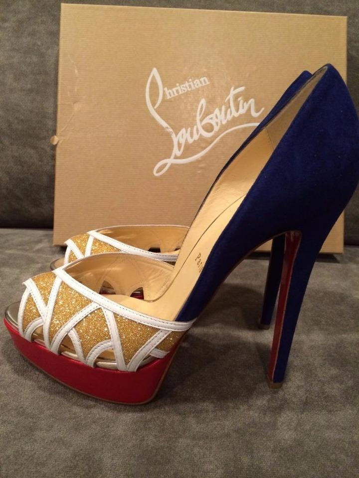 d5d970be938 Christian Louboutin Royal Blue Red Gold White Ekaia 140 Suede ...