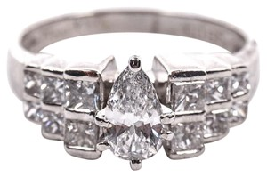 H-i Pear Cut Diamond and Platinum Ring Women's Wedding Band