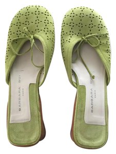 Barbara Bui Green Suede Wide Round Toe Sandals Lime Green Flats