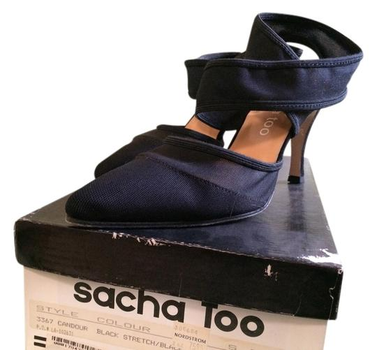 Sasha Too Black w/Ankle Wrap Sandals