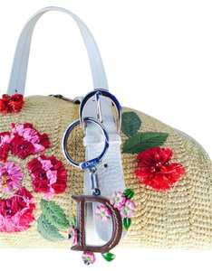 Dior Limited Edition Embroidered Embellished Leather Floral Tote in Natural Tan/ Multi-Colored