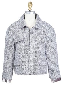 Chanel Boucle Zip Up Black, white, metallic Jacket