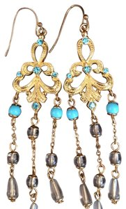 Other Gold plated turquoise gem stone drop earrings.