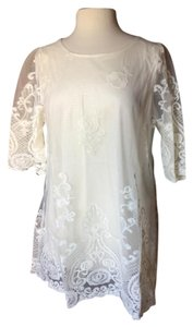SIMPLY COUTURE Lace Elbow Sleeve Flowing Tunic