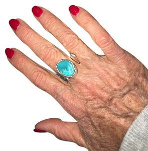 Sterling silver & Turquoise handmade ring Handmade Sterling Silver & Turquoise adjustable ring