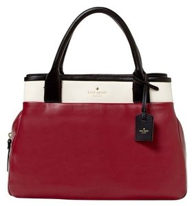 Kate Spade Leather Red Bowling Tote in Red, Burgundy, White, Black