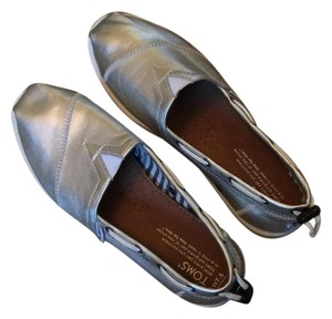 TOMS Silver leather Flats