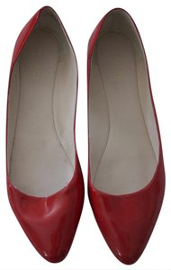 Nine West Patent Leather Red Pointed Toe Cherry Red Flats