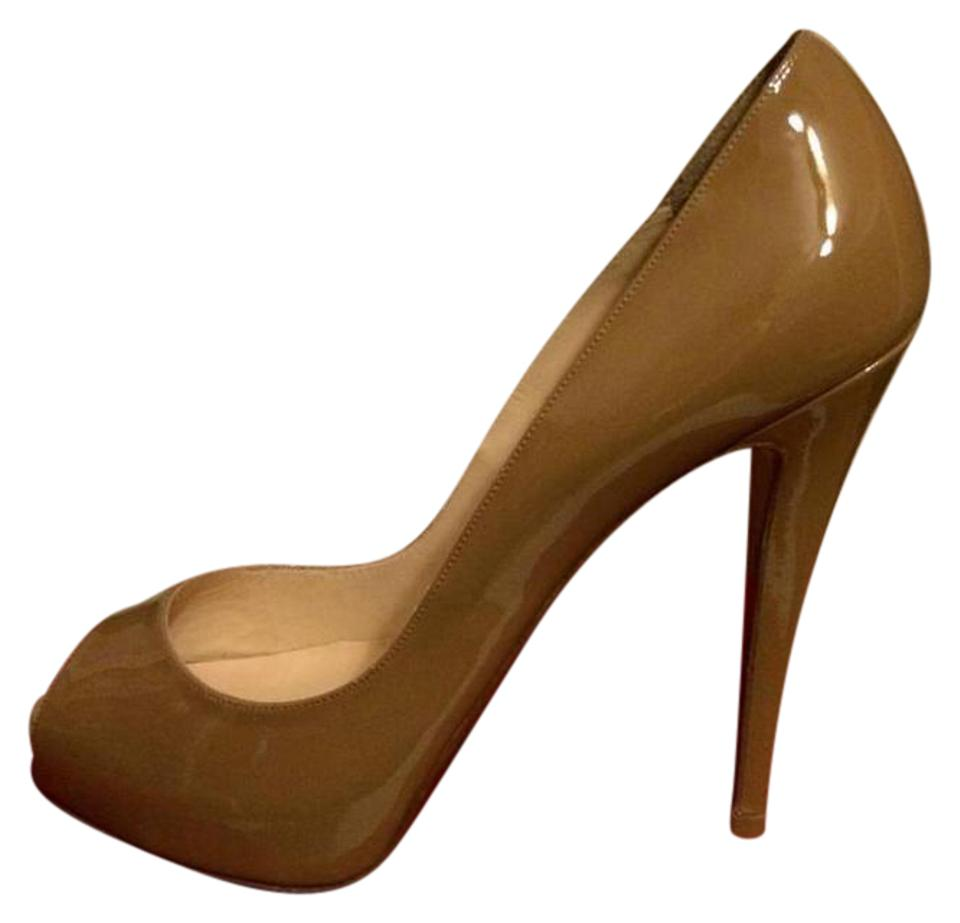 free shipping d1d24 a35be Christian Louboutin Camel Very Prive Patent Leather Peep Toe Platform Heels  Pumps Size EU 40.5 (Approx. US 10.5) Regular (M, B) 27% off retail