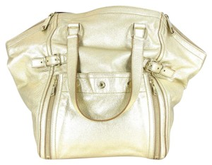 Saint Laurent Leather Metallic Ysl Tote in Gold