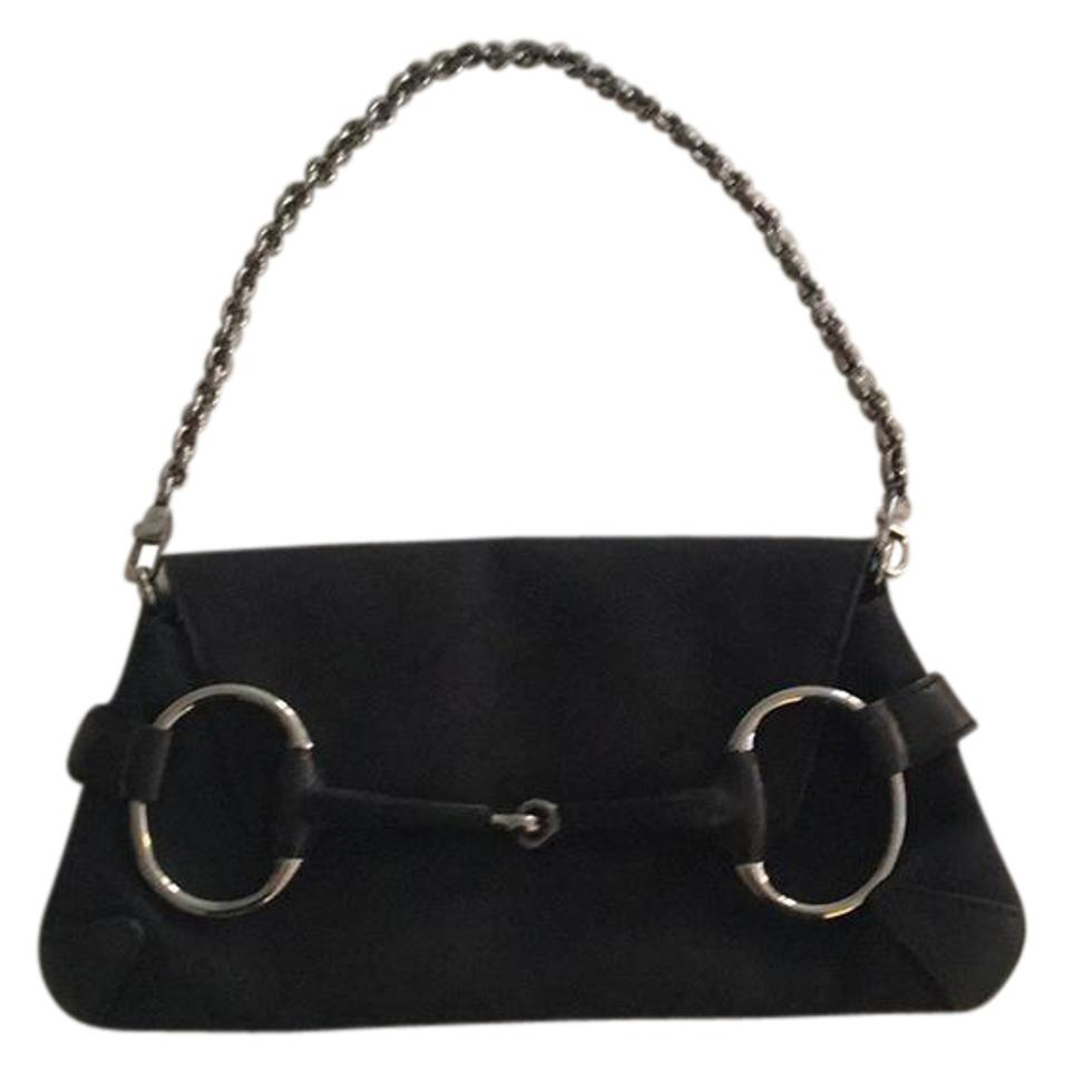 2513c2a7711 Gucci Gently Used Evening Black Leather and Canvas Shoulder Bag ...