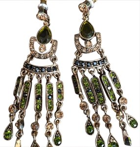 Other Gold plated green gemstone chandelier earrings.
