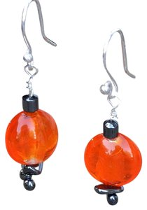 NEW Handcrafted Sparkly Orange Lampworked Glass and Hematite Dangle Earrings on Silverplated Wires
