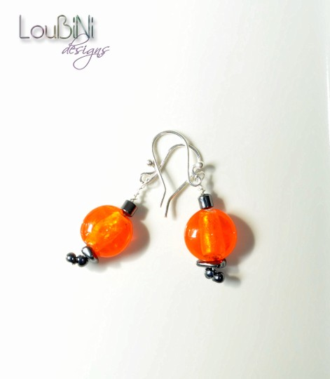 Other NEW Handcrafted Sparkly Orange Lampworked Glass and Hematite Dangle Earrings on Silverplated Wires