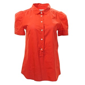 J.Crew Popover Puff-sleeve Cotton Button Down Shirt Poppy Red