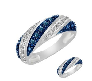 Other ** NWT ** 14K WHITE GOLD BLUE & WHITE DIAMOND WEDDING BAND