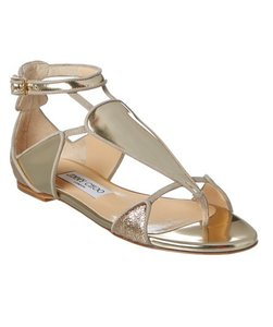 Jimmy Choo T-strap Flat gold Sandals