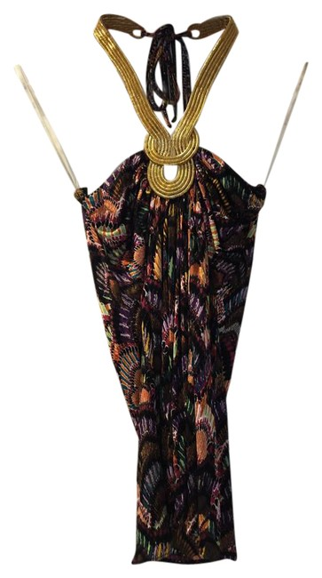 Item - Multi-colored with Gold Halter Top