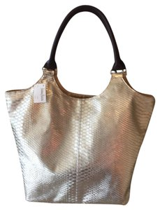 Neiman Marcus Snakeskin Handbags Tote in Gold