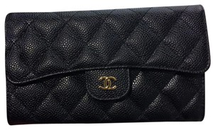 Chanel Chanel Classic Trifold Flap Long Wallet Black Caviar with Gold Hardware
