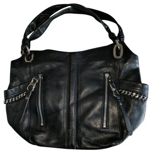 B. Makowsky Satchel in Black with silver metal